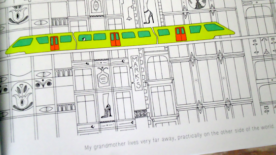 The endpapers are bright neon green to match the train and a wordless